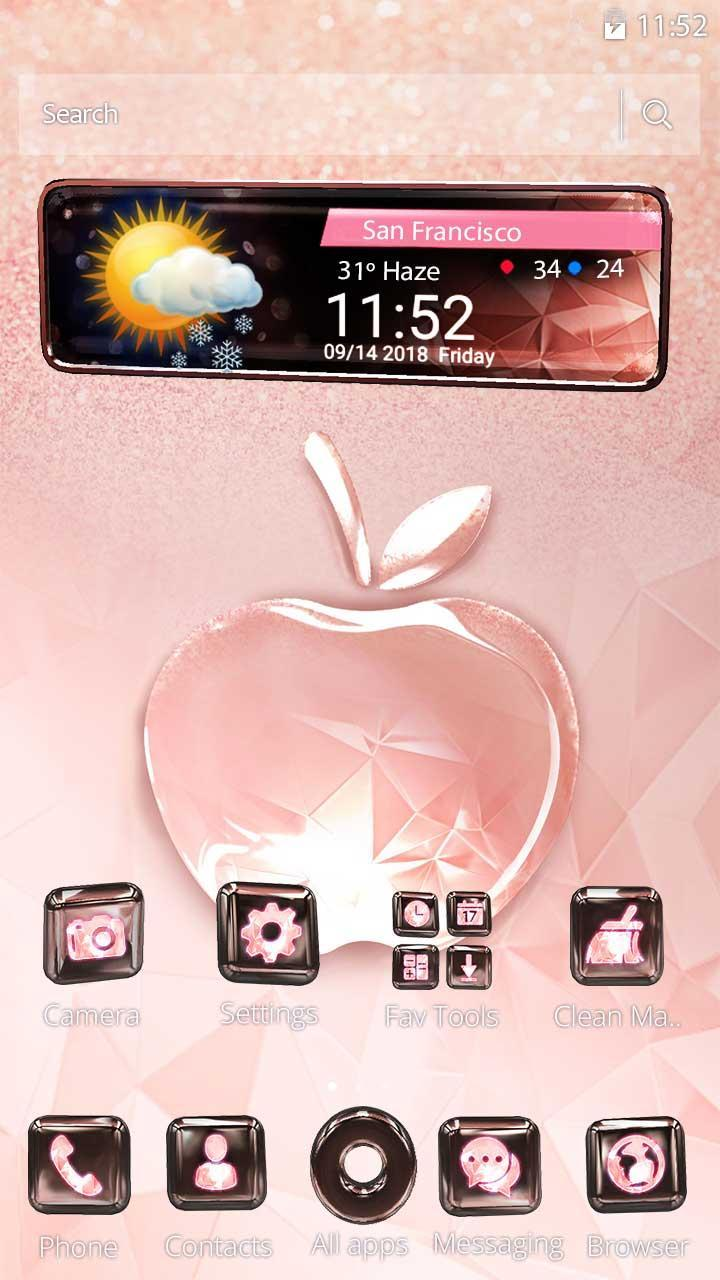 3D Pink Apple Crystal Theme for Android - APK Download