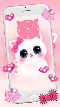 Pink Cute Kitty 3D Live Lock Screen Wallpapers Poster