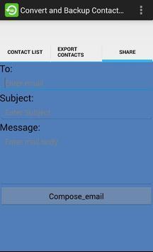 Convert and backup Contact to CSV, Email screenshot 1