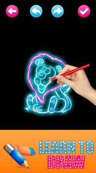 Learn to Draw Glow Animals apk screenshot