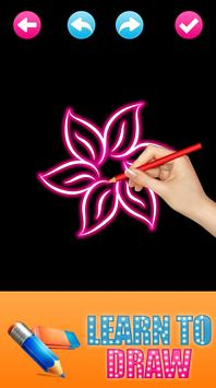 Learn to Draw Glow FLowers apk screenshot