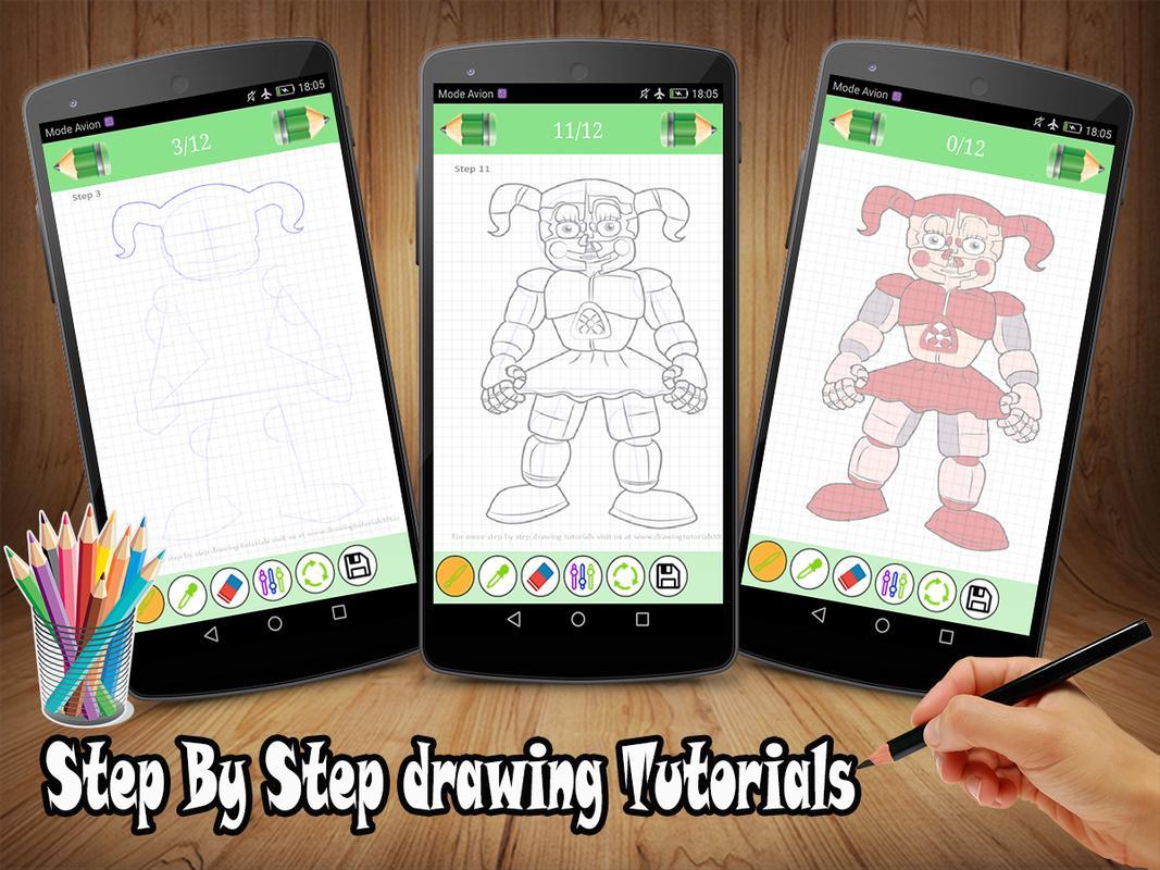 fnaf step by step drawing