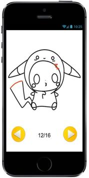Draw Cute Pikachu with Costume Hood from Pokemon apk screenshot