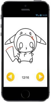 Draw Cute Pikachu with Costume Hood from Pokemon screenshot 2