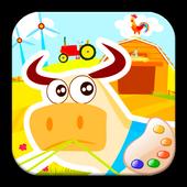 Colors farm animals! pig & cow icon