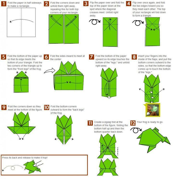 Hüpfenden Origami Frosch falten 🐸 Springenden Frosch basteln mit ... | 745x736