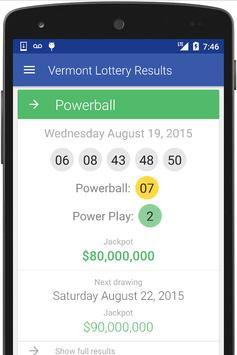 VT Lottery Results poster