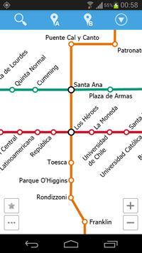 Santiago Metro Map poster