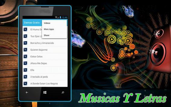 Damas Gratis Musicas y Letras apk screenshot