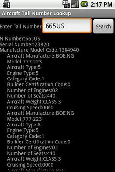 Aircraft Tail Number Lookup apk screenshot
