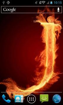 Fiery letter J live wallpaper poster
