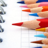 Rainbow pencils icon