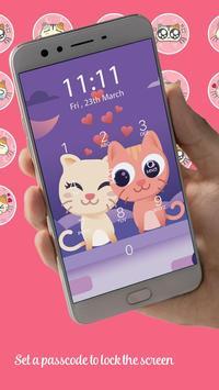 Kawaii Kitty Lock Screen - Kitty Pink Lock Screen poster