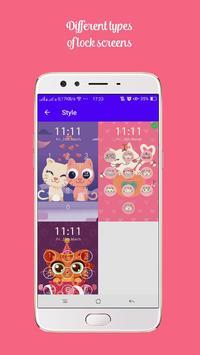 Kawaii Kitty Lock Screen - Kitty Pink Lock Screen screenshot 4