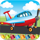 Flying on Plane Coloring Book icon
