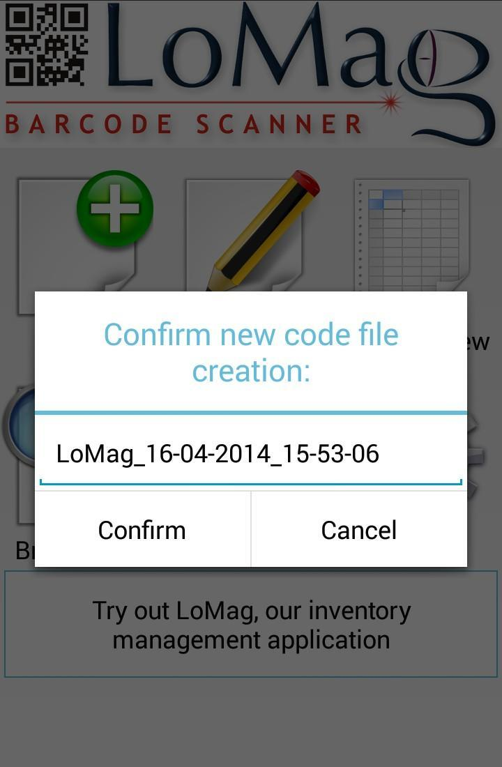 LoMag Barcode Scanner to Excel - free inventory QR for Android - APK