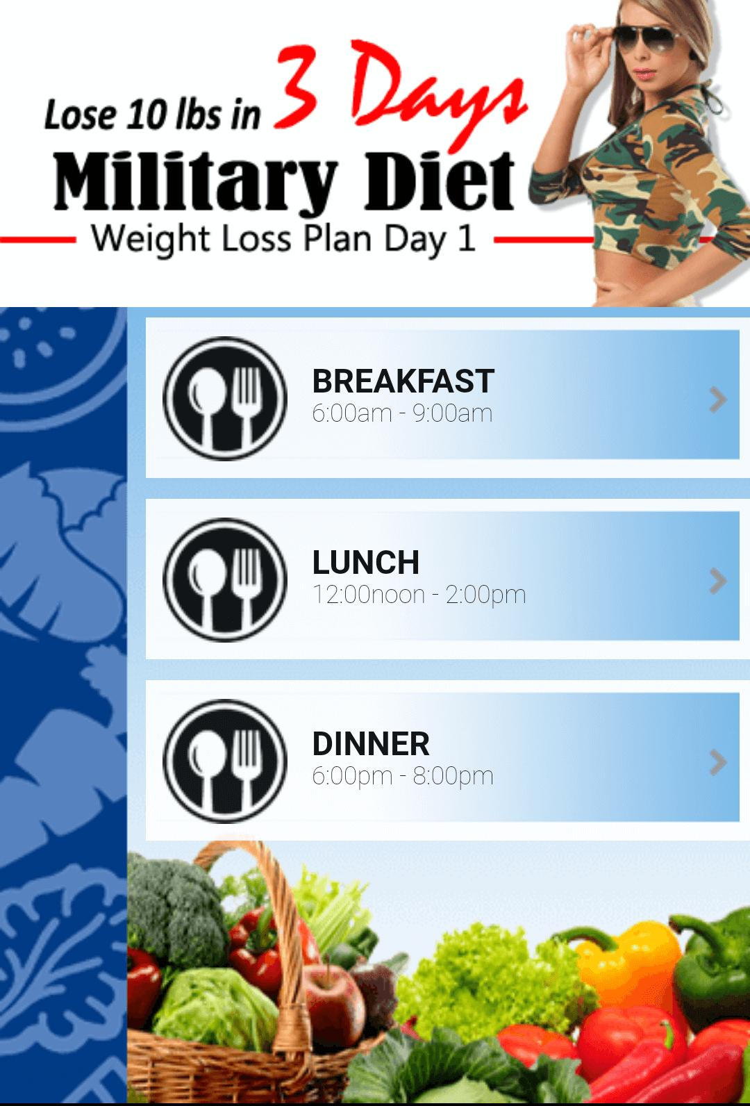 Military Diet Lose 10 Pounds In Just 3 Days: Amazing Military Diet For Android