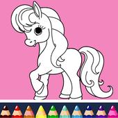 Unicorn coloring book icon