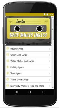 Lorde Best Music Lyrics apk screenshot
