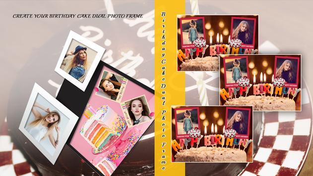 Birthday Cake Dual Photo Frame poster