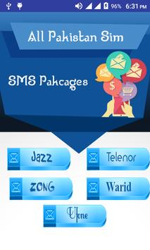 All Sim SMS Packages Pakistan poster