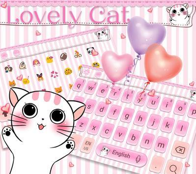 Lovely cat Keyboard Theme pink kitty apk screenshot