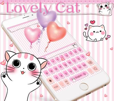 Lovely cat Keyboard Theme pink kitty apk screenshot