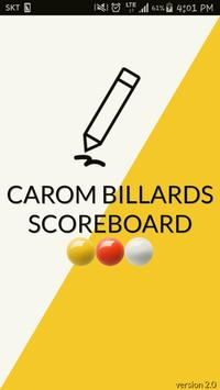 Carom billiards score note poster