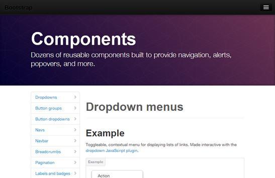 Bootstrap 2.3 docs and example apk screenshot