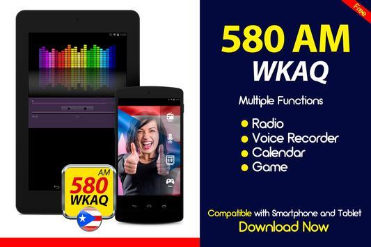 WKAQ 580 am puerto rico radio station online radio poster