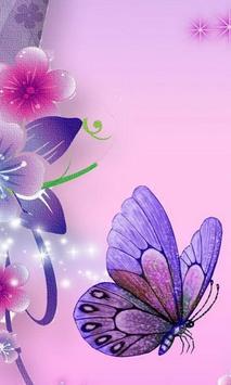 Purple Butterflies Wallpaper Poster