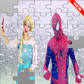 Puzzle super-heroes and princesse icon
