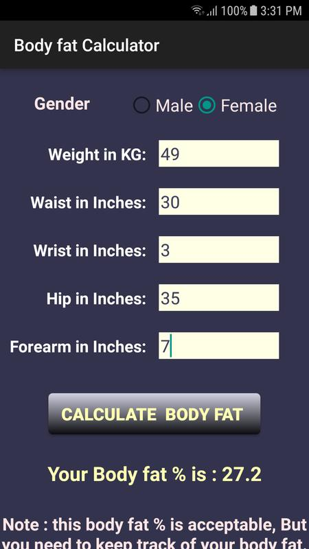 app to calculate body fat percentage