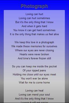 Ed Sheeran Top Lyrics screenshot 1