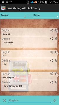 Danish English Dictionary apk screenshot