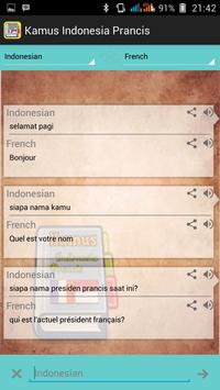 Indonesian French Dictionary apk screenshot