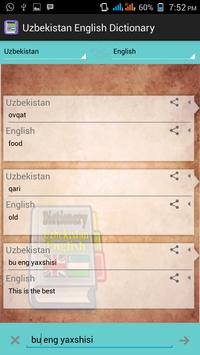 Uzbekistan English Dictionary apk screenshot