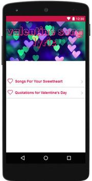 Valentine Love Song Lyric apk screenshot