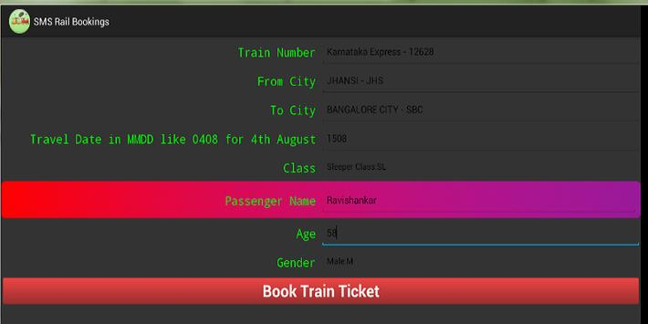 SMS rail bookings apk screenshot