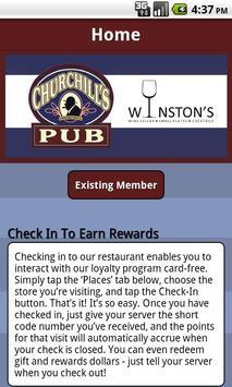 Churchill's Pub Rewards poster