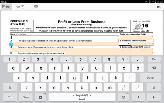 IRS Form 1040 Schedule C: Sign Income Tax eForm for Android