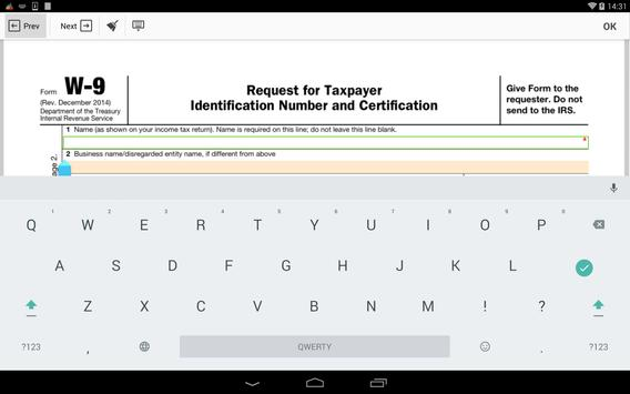 IRS W-9 form apk screenshot