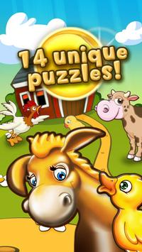 Animal puzzle for kids farm HD poster