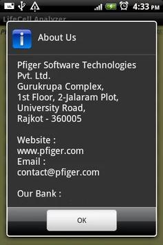 LifeCell Analyzer PFIGER apk screenshot