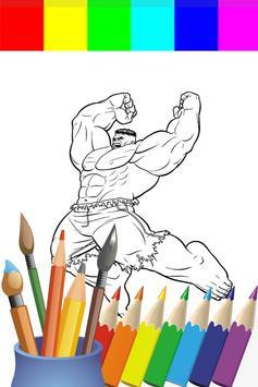 Coloring Big Green Hero For Kids poster