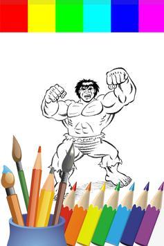 Coloring Big Green Hero For Kids screenshot 1