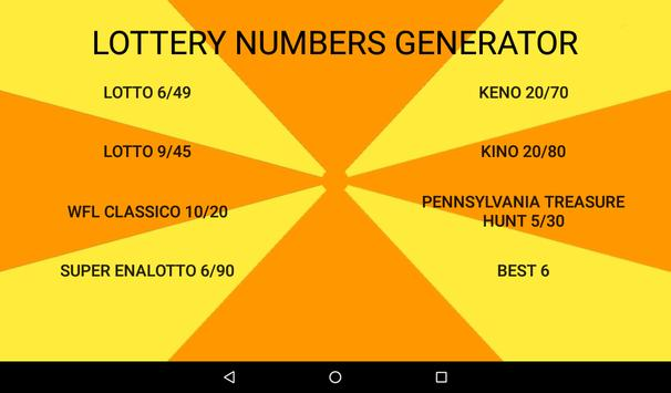 Lottery Numbers Generator apk screenshot