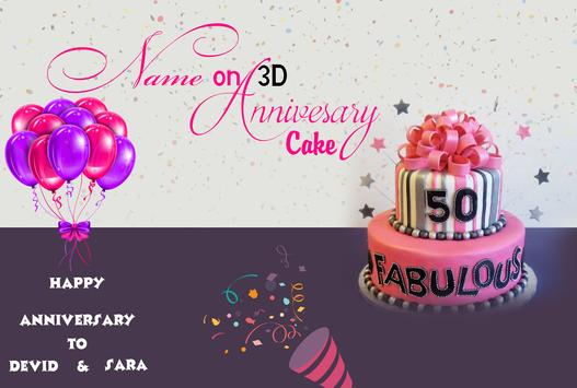 Name On 3D Anniversary Cake poster