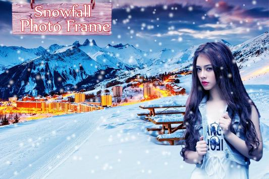 Snowfall photo frame photo editor   photo mixer poster