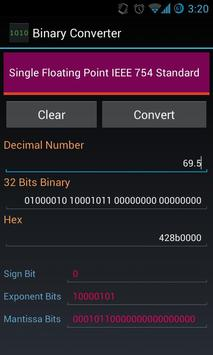 Binary Floating IEEE Converter apk screenshot